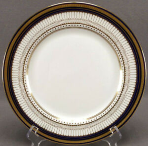 Image is loading Set-of-4-Royal-Doulton-RA6980-Cobalt-&- & Set of 4 Royal Doulton RA6980 Cobalt u0026 Gold Dinner Plates Circa 1923 ...