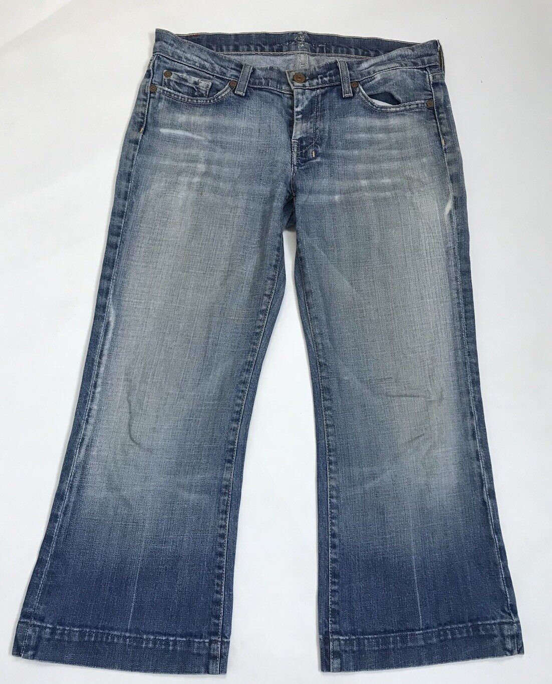 7 For All Mankind 28 Women's Jeans DOJO Wide Leg Cropped Light Wash Distressed