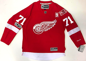 new style 6a7a4 1e4c7 Details about DYLAN LARKIN DETROIT RED WINGS HOME 2017 MR. I HOWE PATCH  REEBOK PREMIER JERSEY