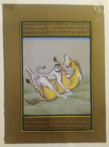 Indian-Hand-Painted-Persian-Dragon-Miniature-Painting-Rare-Old-Paper-Natural-Art