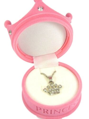 Girls Pink Velvet Princess Crown Box With Pink Heart OR Crown Necklace