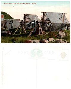 CANADA-Postcard-Ontario-Drying-Nets-Jack-Fish-Lake-Superior-A5