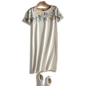 NEW-EX-JOULES-UK-10-12-RIVIERA-MUSTARD-GREY-STRIPE-FLORAL-TUNIC-DRESS