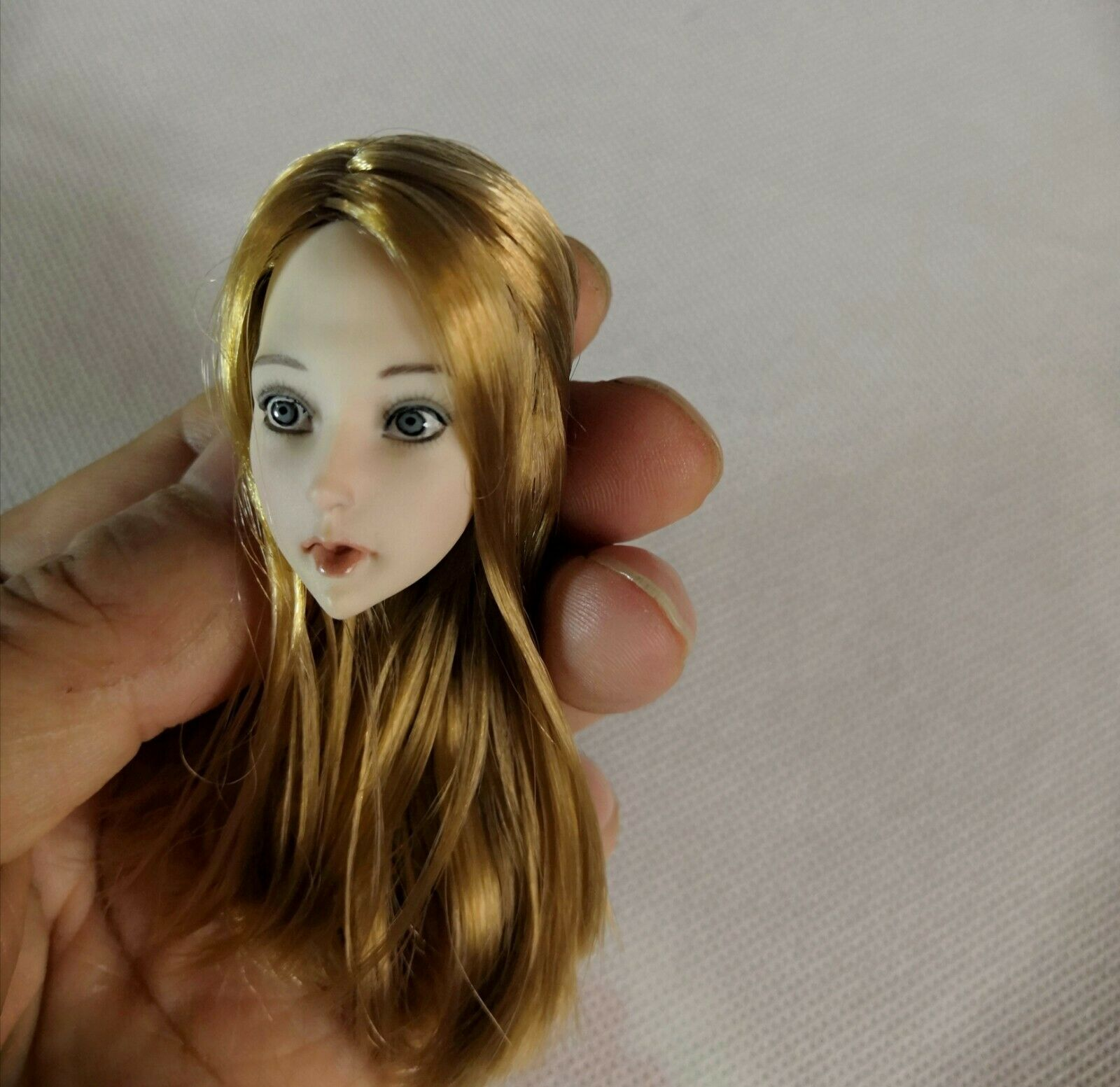 1 6 Scale Yellow Straight Hair Anime Girl Head Sculpt Fit 12'' Female Body