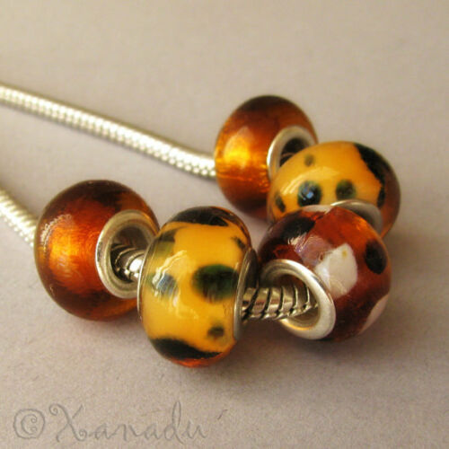 5PCs Golden Amber Brown Lampwork Glass Beads For European Style Charm Bracelets