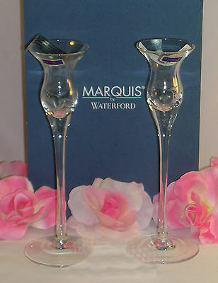 """New Waterford Marquis Crystal Yours Truly Candlesticks Pair Etched Hearts 9""""Tall"""