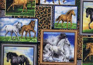 Fat-Quarter-Running-Wild-Horse-Equine-Pony-Pictures-Cotton-Quilting-Fabric-27831