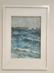 St-Kilda-beach-pastel-and-acrylic-painting-framed-ready-to-hang-32x44cm