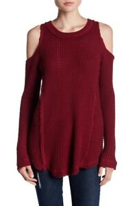 0e7b69a710e151  150 ELAN WOMEN S RED COLD-SHOULDER CREW-NECK LONG SLEEVE SWEATER ...