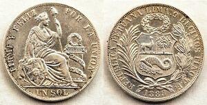 Republica-peruana-1-Sol-1888-Peru-ENB-XF-Plata-25-g-Brillo-original