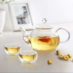 Borosilicate-Glass-Tea-Set-Infuser-Teapot-20-or-27oz-Double-Wall-Cups