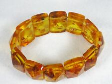Great Large Vintage Chunky Lucite Amber Confetti Stretch Faceted Bracelet