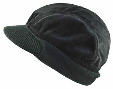 MG Men's 4 Panel Velour Winter Cap Beanie Visor Hat Black