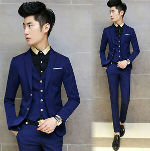 Fashion Mens Suit Blazers Coat Pants Vestshirt Slim Fit Formal