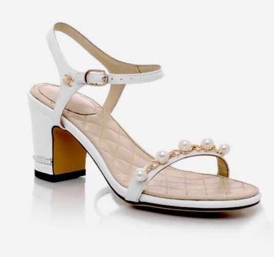 blanc Leather Open Toe Mid Mid Mid Heel Pearly Dress Sandals c9ed61