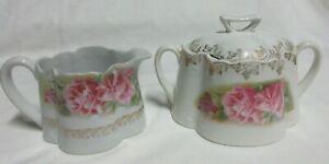 VTG Victorian Style Ceramic Pink Rose Gold Trim  Sugar/Lid & Creamer Bowl