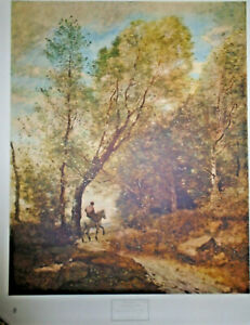 VINTAGE-LITHOGRAPH-PRINT-JEAN-BAPTISTE-CAMILLE-COROT-FOREST-OF-COUBRON-28-034-X-35-034