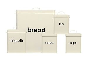 5PC-Bread-Bin-biscuit-the-cafe-sucre-stockage-bidon-cuisine-Set-Creme-NEUF