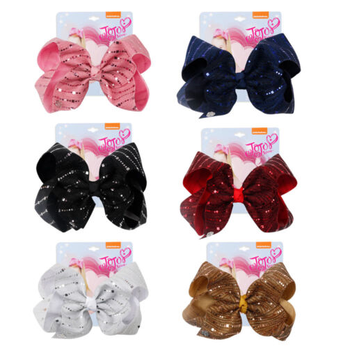 """7/"""" Large Striped Sequins Ribbon Hair Bow Bowknot For Girls Kids Princess Party"""