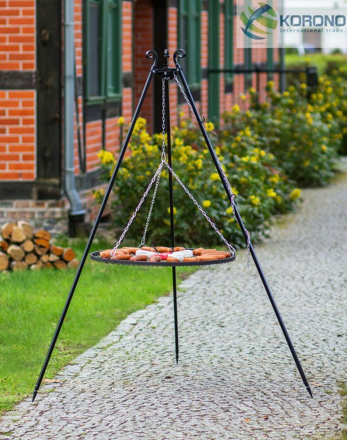 Korono tres pierna schwenkgrill, jardín Grill, altura 1,8m, óxido Ø 60 CM, Handmade