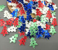 DIY 100X Mix-color Resin Christmas tree Sewing Buttons scrapbooking crafts 17mm