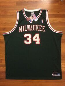 Details about Authentic Reebok Milwaukee Bucks HWC Ray Allen Green Red White Retro Jersey 60