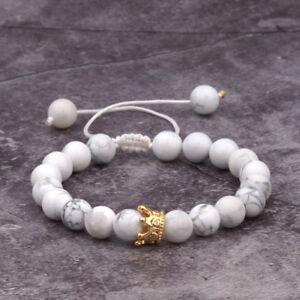 8 Mm Pierre Perles Or Blanc Charme Zircone Cubique Couronne De Perles à La Main Tissage Bracelets Bijoux-afficher Le Titre D'origine