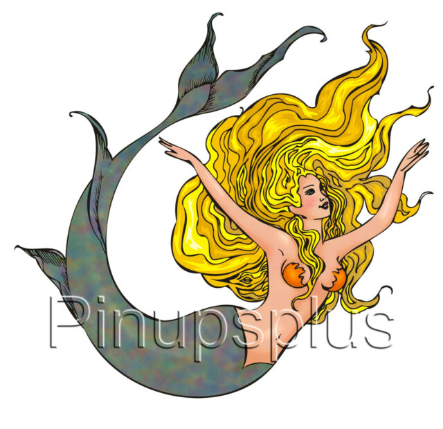 Blond Mermaid Pinup Girl Waterslide Decal for guitars & more S861 by Pinupsplus
