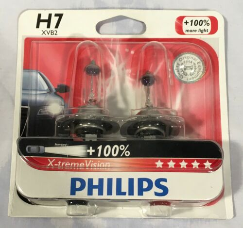 100/% Halogen Car Headlight Bulbs Philips X-treme Vision H7 55 Watts 12V pair