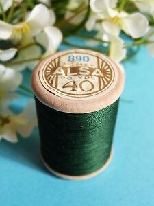 130B/  BELLE BOBINE DE FIL DMC COTON ALSA N° 40  VERT  N° 890
