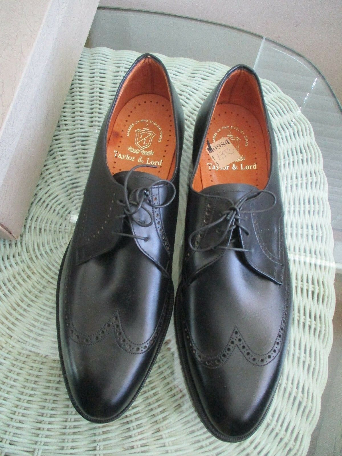 NEW Vintage Taylor & Lord Leather Wingtip Saddle Oxford nero sz 13 C England