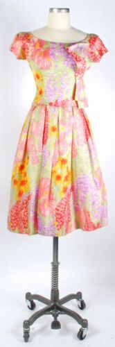 Vintage 50s 60s SUZY PERETTE Pastel Floral Silk Co