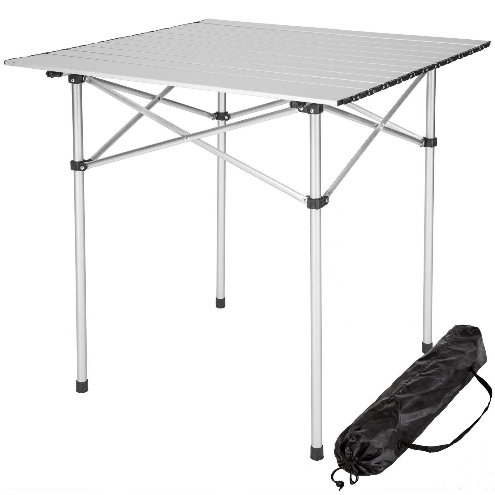 Mesa plegable enrollable de aluminio portátil camping multifuncional 70x70x70 cm