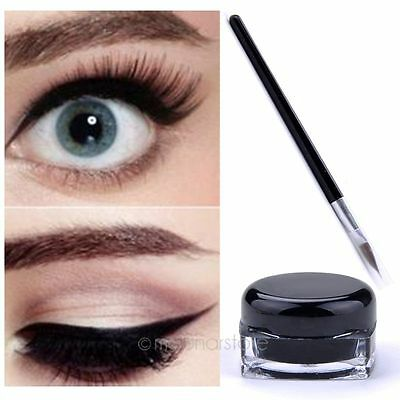 Black Waterproof Eye Liner Eyeliner Gel Cream Makeup Cosmetic + Brush Makeup Set