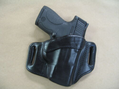 Ruger LC9 / LC9s 9mm OWB Leather 2 Slot Molded Pancake Belt Holster CCW BLACK RH