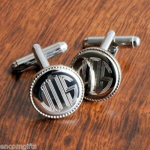 Personalized-Silver-Plated-Engraved-Monogram-Cuff-Links-Groomsman-Gift