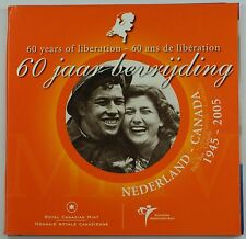 """2005 Canada-Netherlands """"60 Years of Liberation"""" Euro Set With .925 Silver Token"""