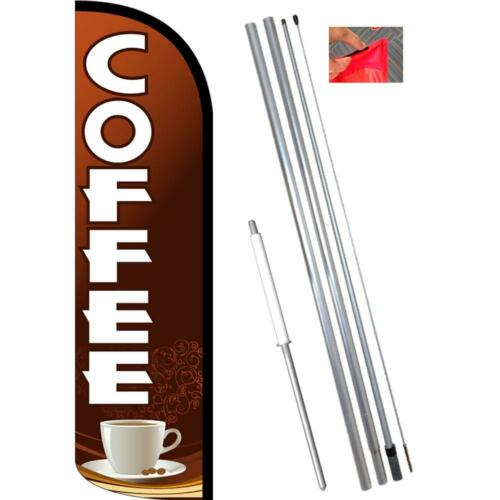 Brown//White Coffee Windless-Style Feather Flag Bundle 14/' OR Replacement Flag