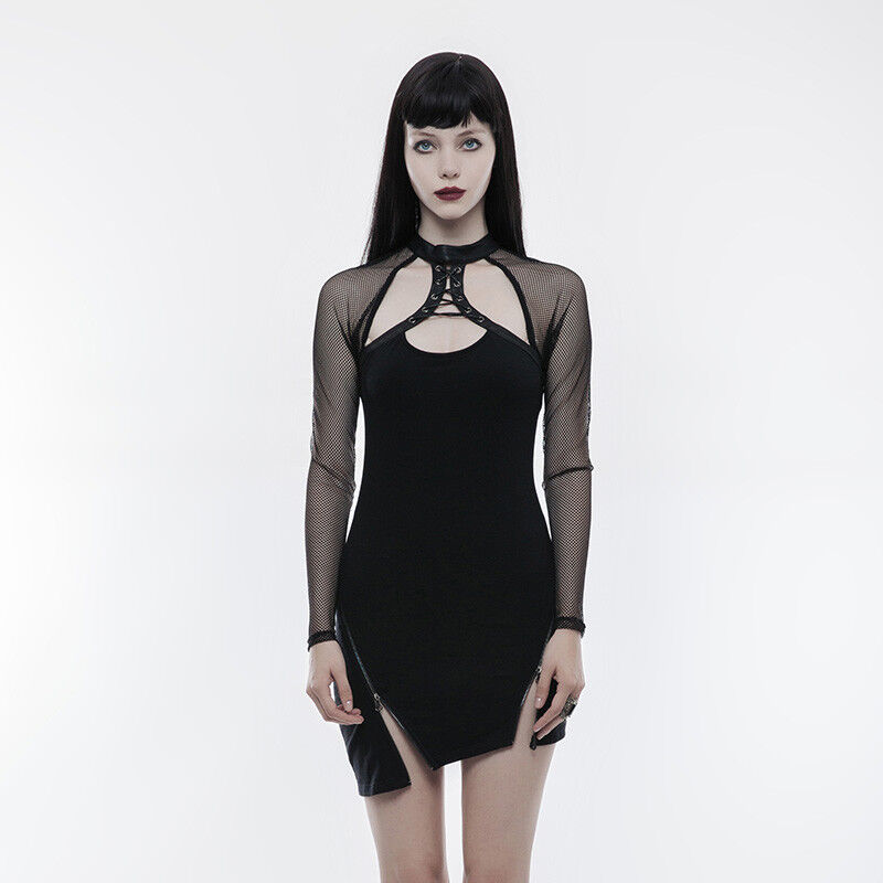 Punk Rave WQ-348  Goth Punk Lace Sleeves Zipper Dress