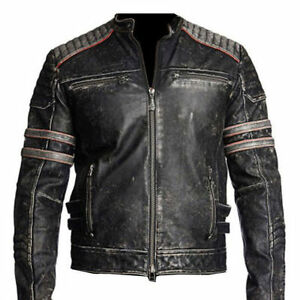 Homme Moto Vintage Effet Vieilli Véritable Veste en Cuir Cafe Racer Terminator