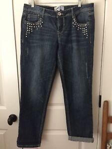 NEW-Jolt-Boyfriend-Jeans-Sz-13-Mid-Rise-Stretch-Studs-Blue-Distressed-NORDSTROM