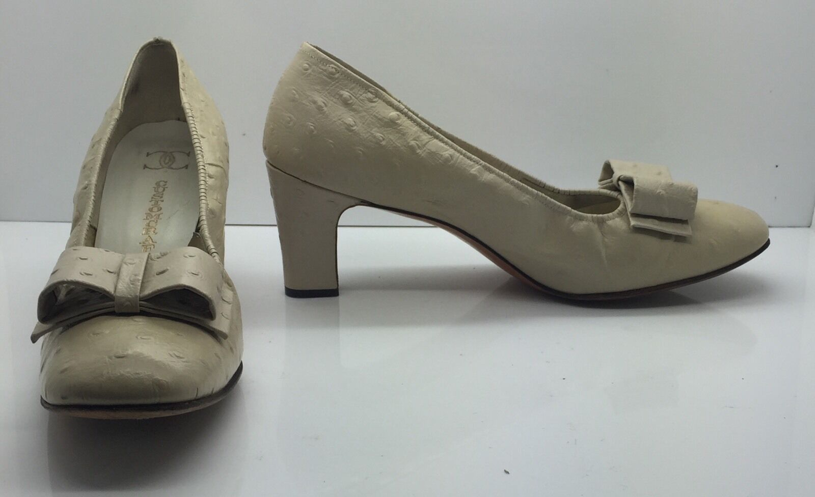 Perry Pumps CHESTER Vtg 50s Cream Tan Ostrich Leder Heels Pumps Perry Classic Bow 8.5B USA 788249