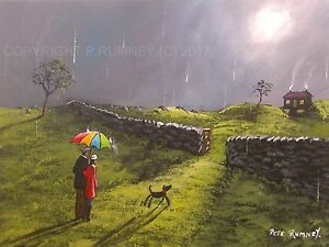 Pete-Rumney-Art-Original-Canvas-Painting-The-Light-Of-Home-Umbrella-Cottage-Dog