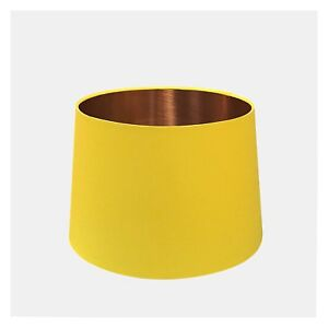 Image Is Loading Bright Yellow Amp Brushed Copper Tapered Lampshade French