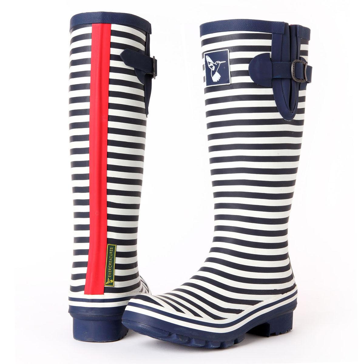 Evercreatures High Quality Fashion Stripe Rain Boot Gumboot Blue White Wellies