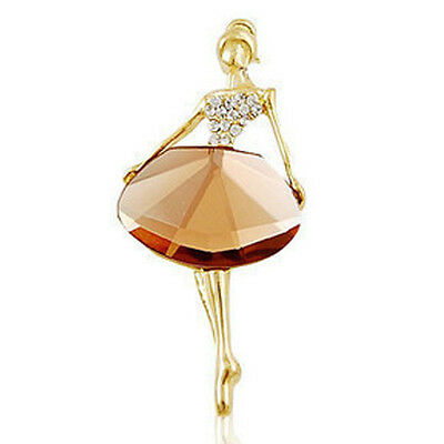 Elegant Gold Tone Crystal Glass Ballet Ballerina Brooch Pin Womens Jewelry Gift