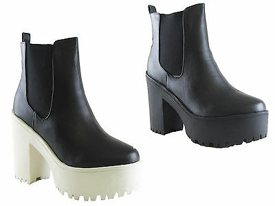 NEW LADIES ANKLE CLEATED SOLE PLATFORM CHUNKY HEEL GUSSET CHELSEA BOOT SIZ 3 - 8