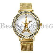 Fashion Rhinestone Eiffel Tower Womens Stainless Steel Mesh Quartz Wrist Watch