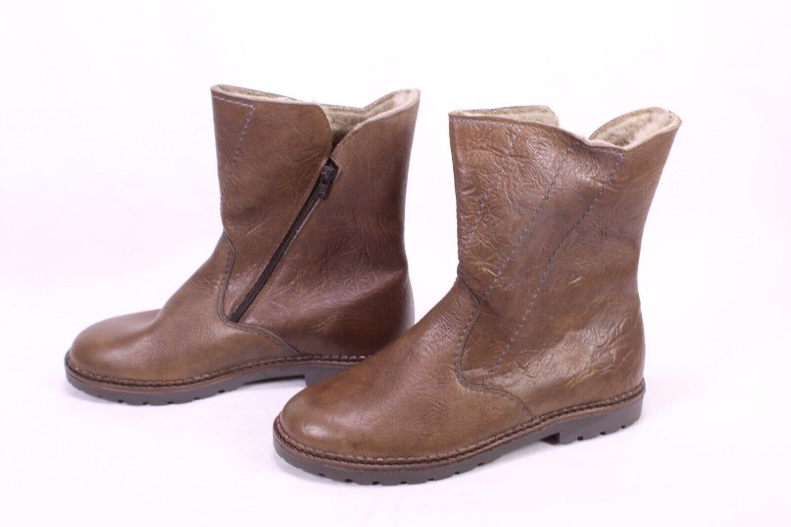 C152 Warme Stiefel Stiefeletten Gr. 40 Leder braun Vintage gefüttert ungetragen