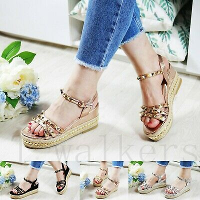 New Womens Platform Sandals Studs Espadrille Ankle Strap Summer Shoes Sizes 3-8